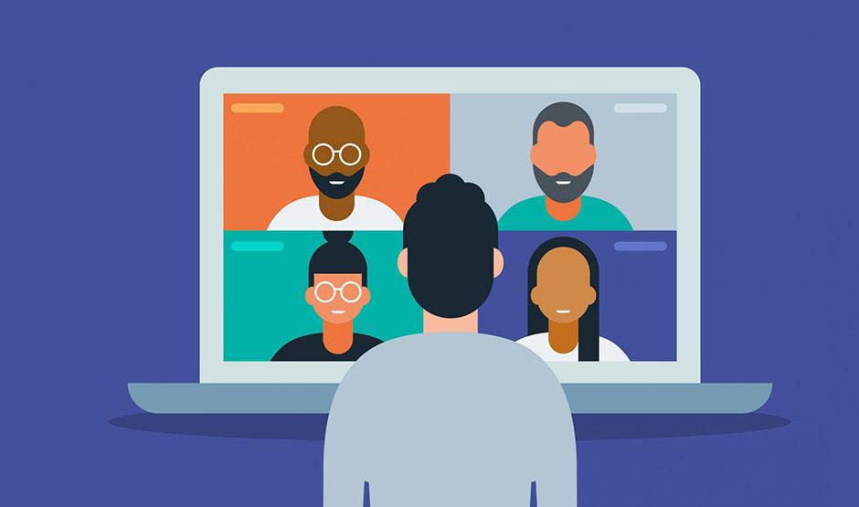 cartoon of virtual meeting on computer